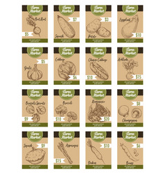 Sketch price cards farm organic vegetables vector
