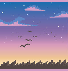 sky sunset flying birds clouds foliage nature vector image