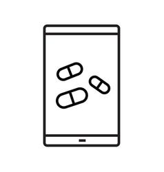 smartphone medical app linear icon vector image