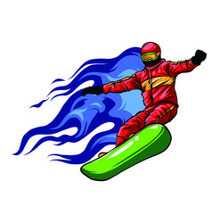 snowboarder crow on fire art vector image