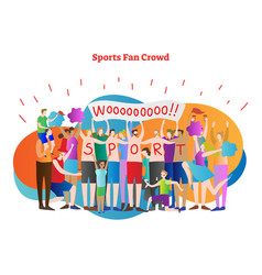 sports fan crowd enthusiasts and cheerleader team vector image