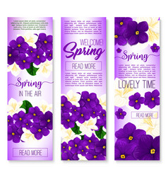 spring flower welcome banner set design vector image