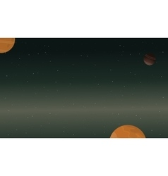 Starry and planet space landscape vector