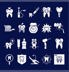 Stomatology silhouette icon set in flat style vector
