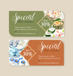 Thai sweet voucher design with pudding layered vector