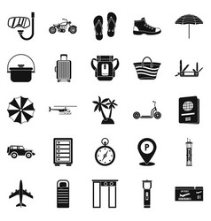 Tour guide icons set simple style vector