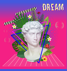 vaporwave statue with flowers and leaves 3d vector image