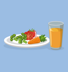 vegetables and juice delicious food breakfast menu vector image