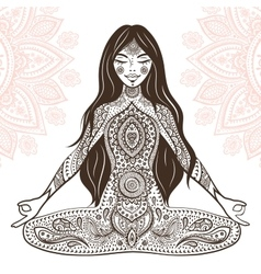 Vintage with yoga girl vector image