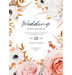watercolor style fall floral wedding invite card vector image