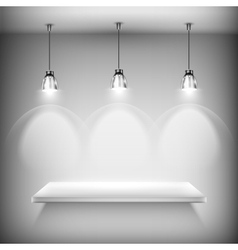 White Empty Shelf Illuminated By Spotlights vector