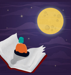 woman flying in open story book night sky concept vector image