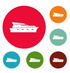 yacht icons circle set vector image