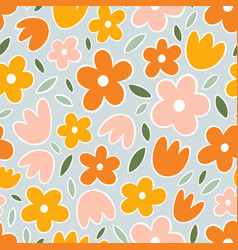 yellow orange and pink flowers on mint background vector image