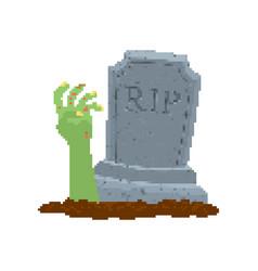 Zombie hand pixel art dead man from grave 8 bit vector