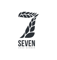 Black and white number seven logo formed by wheat vector image vector image
