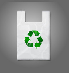Blank white plastic bag with green recycling sign vector image vector image