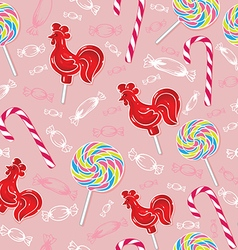 lollipop red rooster and colored candies vector image vector image