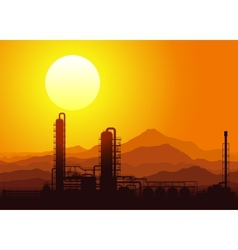 Oil refinery at sunset vector image vector image