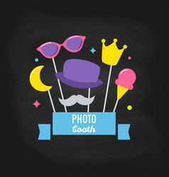 photo booth props on chalkboard background vector image vector image