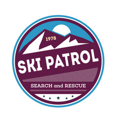 Professional ski patrol isolated label vector