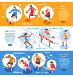 Sportsmen isometric horizontal banners vector