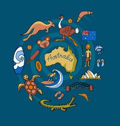 australian doodle set vector image