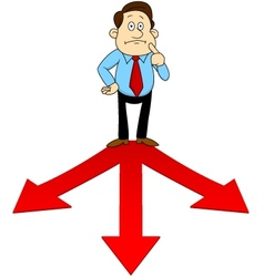 Businesspeople standing on the red arrow vector image vector image