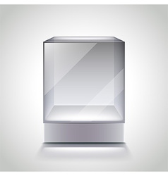 Empty glass cube showcase for exhibition vector image vector image