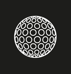 golf ball icon on black background vector image vector image