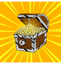 hand drawn pop art of wooden chest with gold coins vector image vector image
