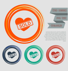 heart icon on the red blue green orange buttons vector image vector image