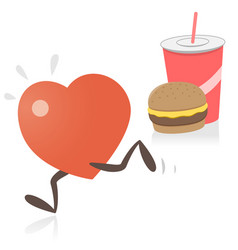 heart running away from junk food vector image vector image