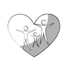 heart with family silhouette vector image vector image