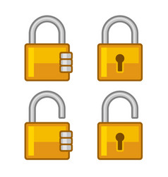 lock icons set flat style vector image vector image