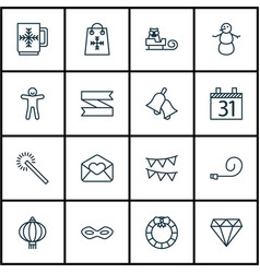 Set of 16 happy new year icons includes date vector