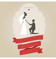 Vintage wedding invitation with bride and groom vector image vector image