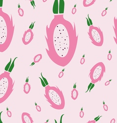 Dragon fruit pattern pink background vector image vector image