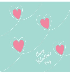 Pink dash line heart background Flat design vector image