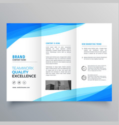 blue trifold business brochure design with wave vector image