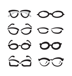 group of hand drawn glasses on white background vector image vector image