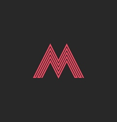 Letter M monogram outline letter initial wedding vector image vector image