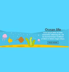 ocean life banner horizontal concept vector image