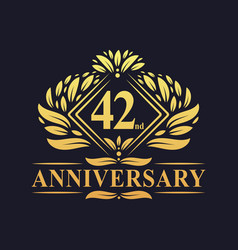 42 years anniversary logo luxury floral golden vector