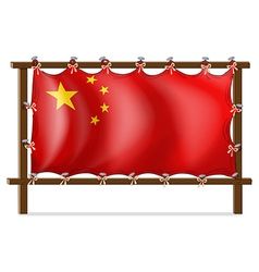 A wooden frame with the Chinese flag vector image