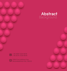 abstract pink circle background with 3d spheres vector image