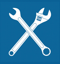 Adjustable wrench and combo wrench crossed icons vector