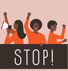 African american females take part in strike vector