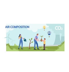 Air and atmospheric composition family planting vector