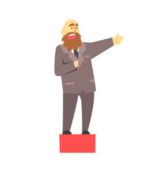 bald businessman with a beard talking on red vector image